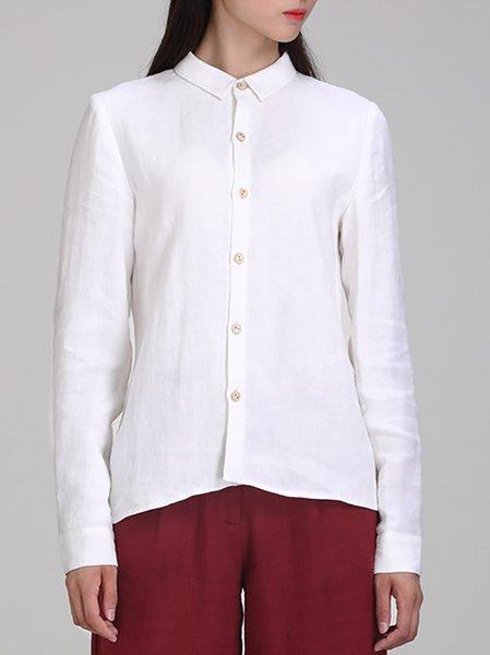 White Buttoned Simple Linen V Neck Blouse