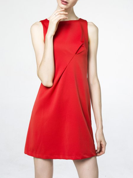 Red Crew Neck Sleeveless Plain Mini Dress