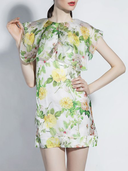 Sleeveless Crew Neck Floral Sweet Sheath Mini Dress