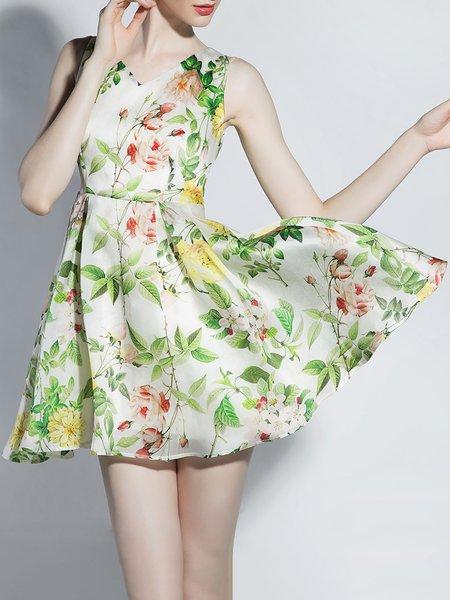 Green V Neck Polyester Sleeveless Mini Dress