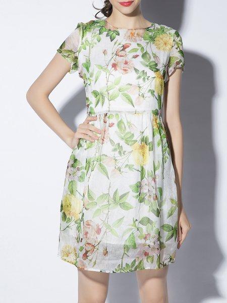 Crew Neck Printed Short Sleeve Sweet Mini Dress