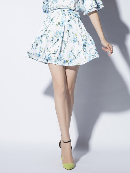Blue Floral Sweet Mini Skirt