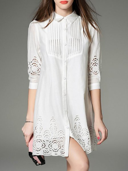 White Casual Shirt Collar Mini Dress
