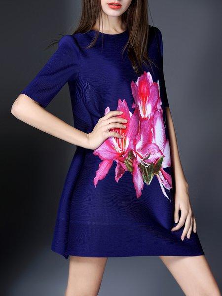 Casual Shift Printed Half Sleeve Mini Dress