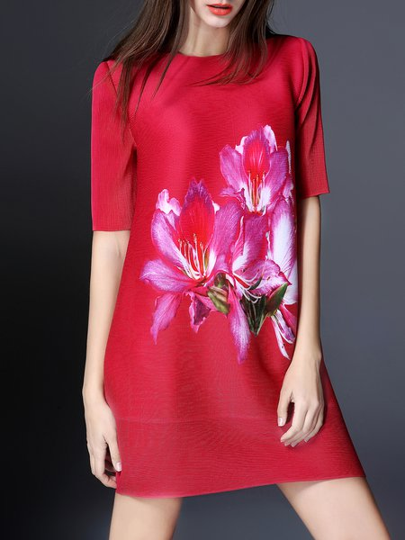 Red Printed Crew Neck Casual Mini Dress