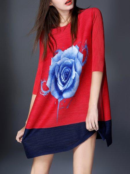 Floral-print Half Sleeve Casual Mini Dress