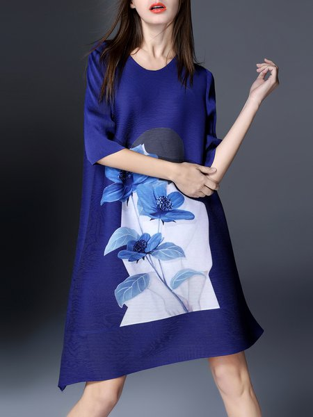Blue Floral H-line Printed Casual Midi Dress