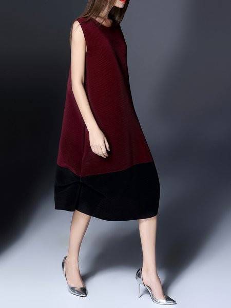 Burgundy Casual Crew Neck A-line Polyester Midi Dress
