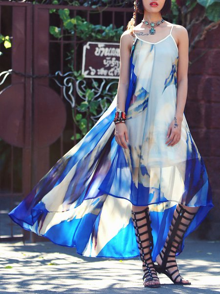 Mesh Asymmetric Boho Spaghetti Maxi Dress