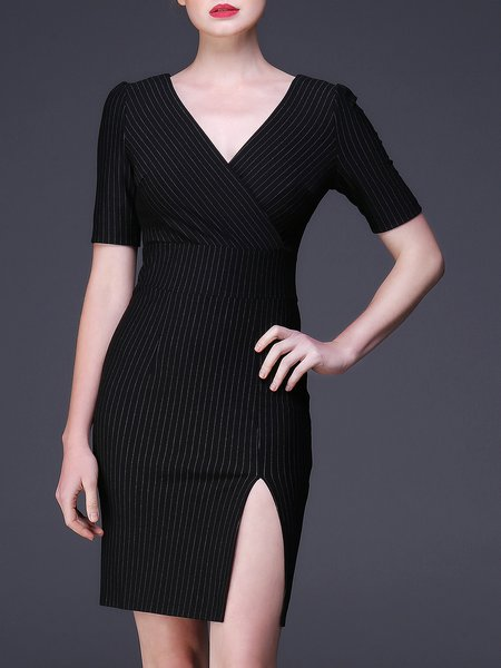 Black V Neck Slit Viscose Short Sleeve Mini Dress