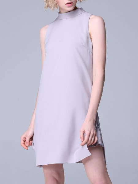 Slit A-line Sleeveless Simple Mini Dress
