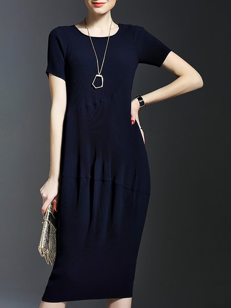 Navy Blue Plain Short Sleeve Polyester Sheath Midi Dress