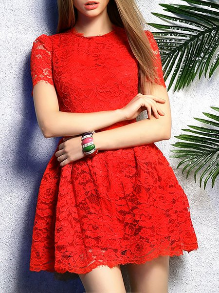 Short Sleeve Girly A-line Mini Dress