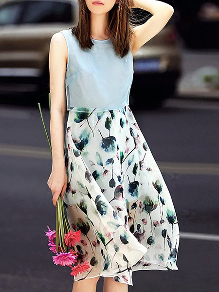 Multicolor Silk Sleeveless Midi Dress