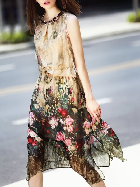 Apricot Floral Silk Crew Neck Sleeveless Midi Dress