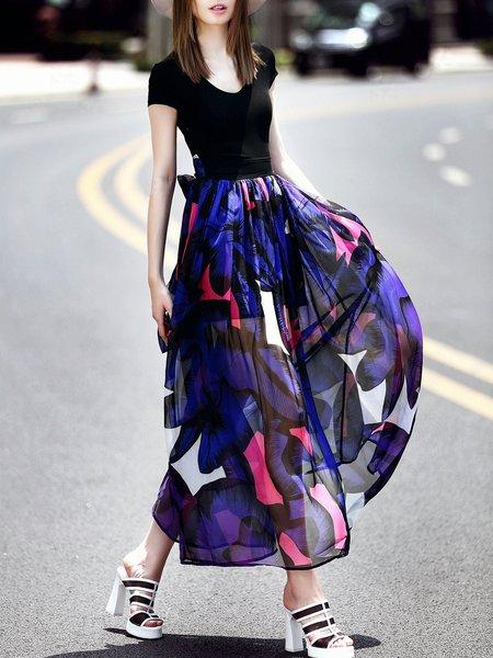 Short Sleeve Paneled Elegant Maxi Dress