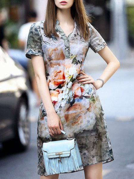 Multicolor Short Sleeve Floral-print Floral Mini Dress