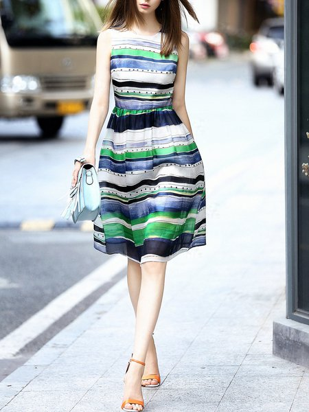 Multicolor Crew Neck Casual Stripes A-line Midi Dress