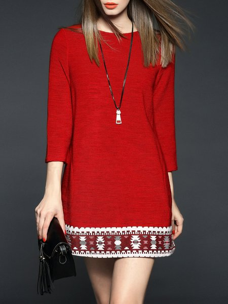 Red Casual Shift Crew Neck Mini Dress