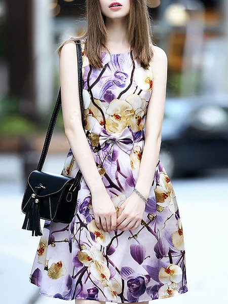 Floral-print A-line Sleeveless Crew Neck Casual Midi Dress