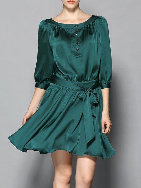 A-line Casual 3/4 Sleeve Mini Dress