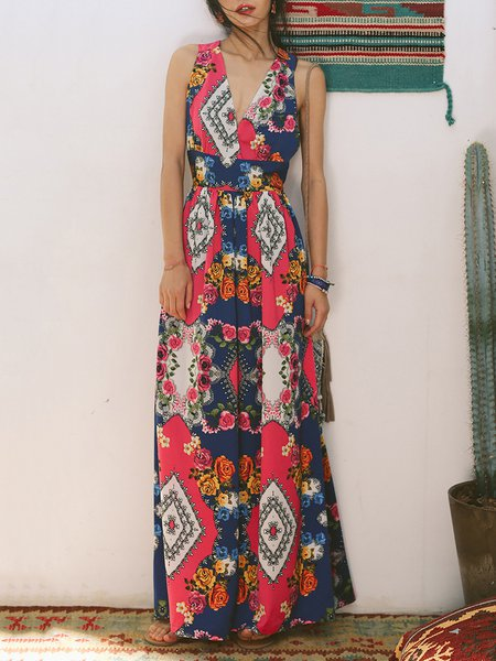 Multicolor Floral Casual Floral-print Maxi Dress