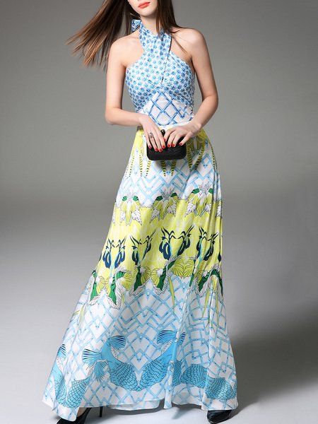 Multicolor Sleeveless Halter Silk Maxi Dress