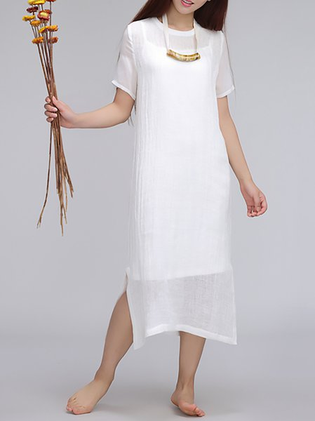 White Plain Crew Neck Shift Simple Midi Dress