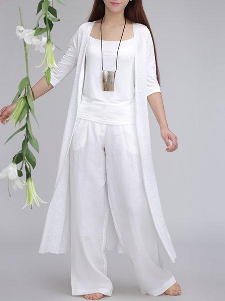 3/4 Sleeve Plain Simple H-line Cardigan