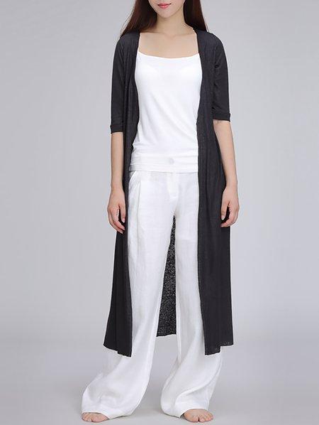 Linen Simple 3/4 Sleeve Cardigan
