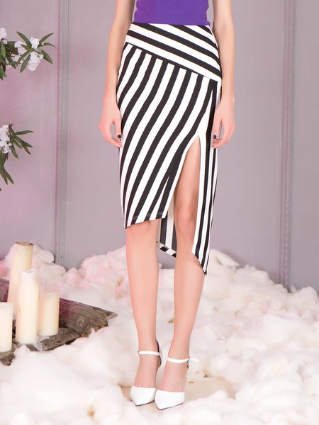 Black Stripes Asymmetric Work Sheath Midi Skirt