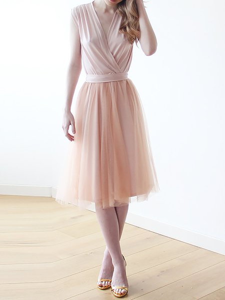 Pink Elegant Hand Made Midi Dress
