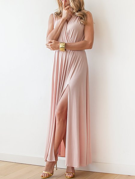 Pink Sleeveless Polyester V Neck Plain Maxi Dress