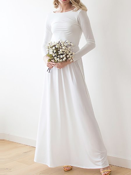 White Polyester Pleated Evening Crew Neck Maxi Dress