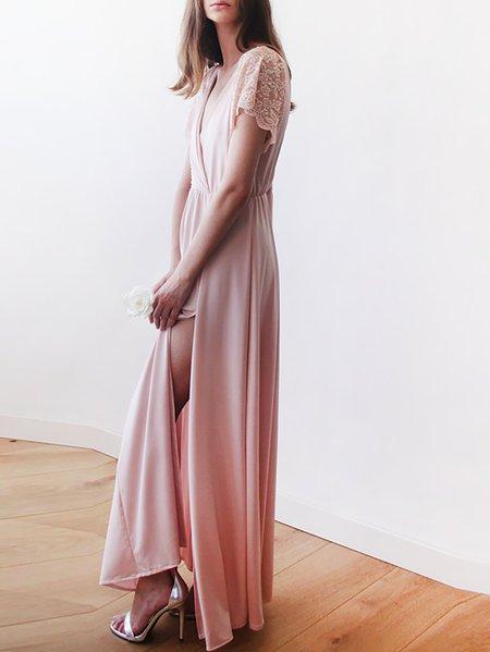 Plain Short Sleeve Evening Maxi Dress - StyleWe.com