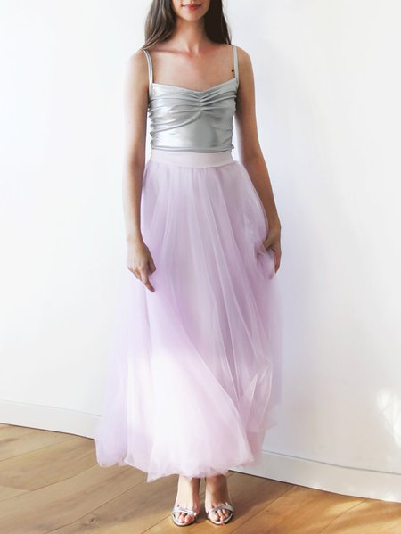 Purple Casual Paneled Polyester Plain Maxi Skirt