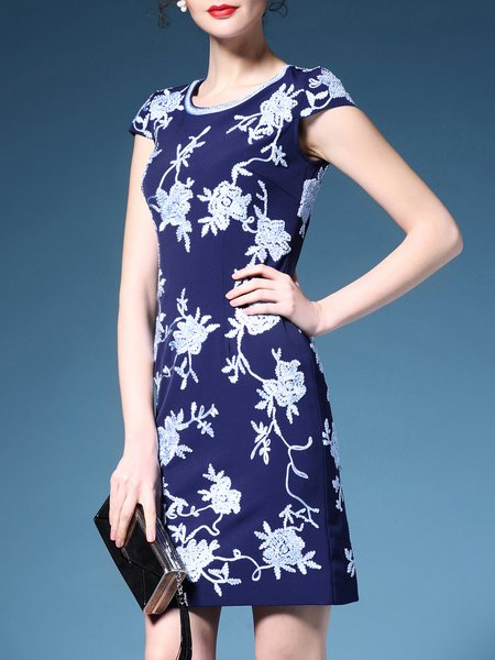 Blue Elegant Floral-embroidered Crew Neck Mini Dress