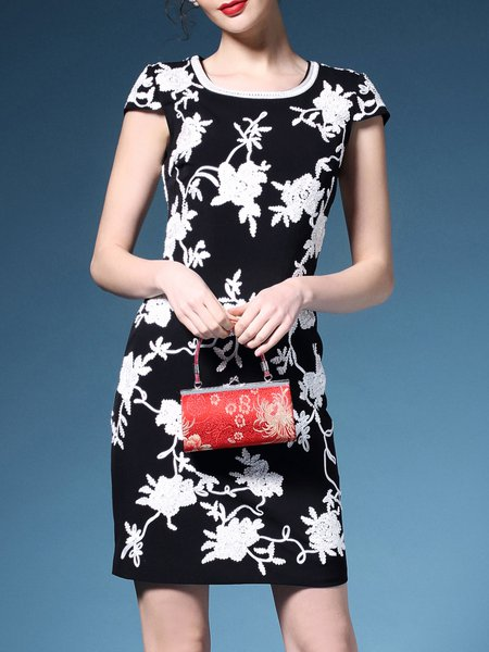 Black Casual Floral-embroidered Polyester Mini Dress
