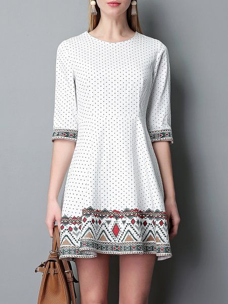 White Polka Dots Casual Cotton Mini Dress - StyleWe.com