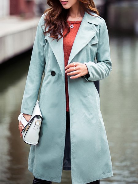 Plain Long Sleeve Buttoned Polyester Casual Coat