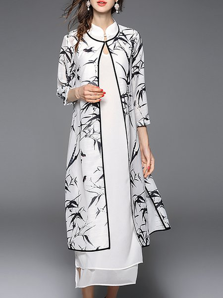 Black-white Printed Leaf Print Vintage Crew Neck Dress With Coat