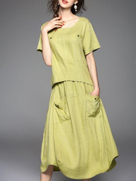 Green Linen Short Sleeve Plain Midi Dress