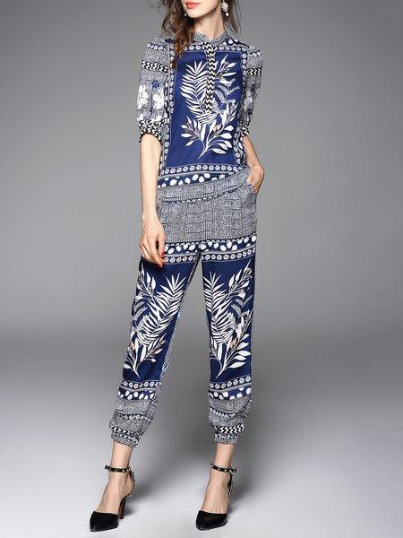 Half Sleeve Printed Vintage Jumpsuit