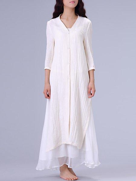 White 3/4 Sleeve Plain Cotton Tunic