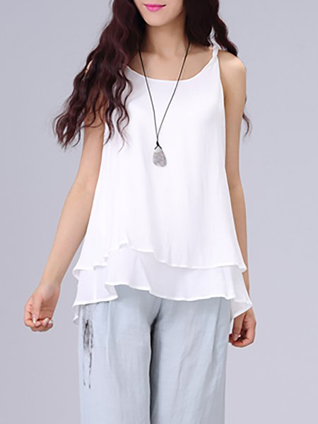 White Plain Sleeveless Camis
