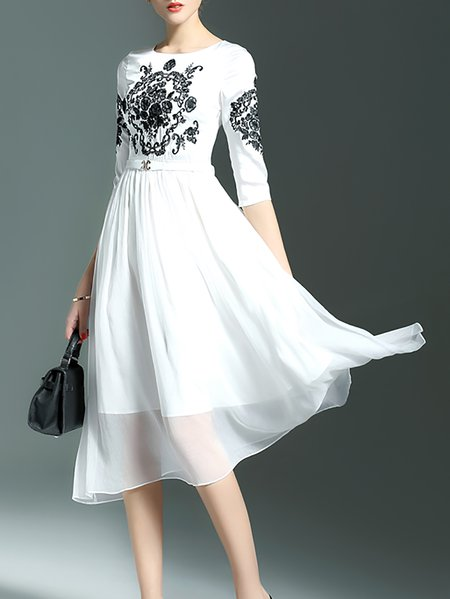 White Embroidered Floral Crew Neck Half Sleeve Midi Dress