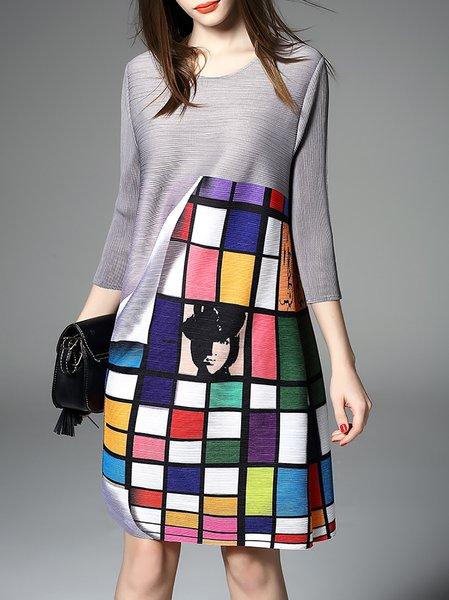 Gray 3/4 Sleeve Geometric Printed Mini Dress