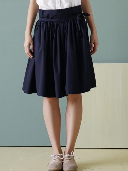 Navy Blue Casual Pleated Plain Midi Skirt