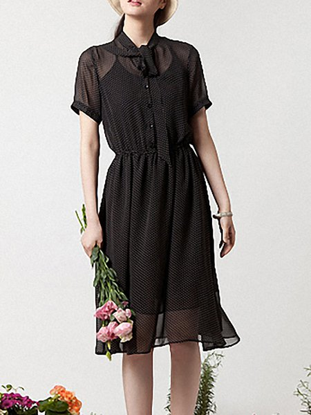 Black V Neck Casual Polka Dots Midi Dress