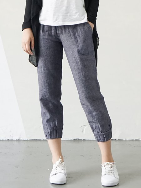 Blue Plain Casual Cropped Pants